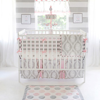 Pink and Grey Crib Bedding | Olivia Rose Crib Collection